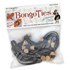 """Bongo Ties 5"""" Elastic Ties 10 Pack, Black"""